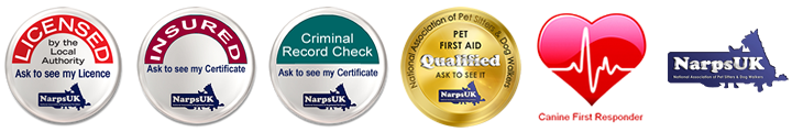 Fully Qualified Dog and Pet Care accredited by NarpsUK, CRB checked, Pet First Aid Qualified